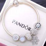 Image is loading Authentic-Pandora-Silver-Bangle-Bracelet -White-Opal-Snowflake-