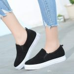 2018 Spring And Fall Women Casual Shoes Brown Slip on Loafers Gray Black  Comfortable Shoes for Womens Sneakers Fashion Flat Shoe New Design Casual  Shoes for