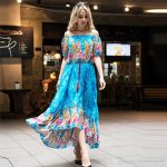 New Bohemian Dresses For Womens Printed Long Summer Dress Shorts Sleeves  Boho Plus Size Maxi Casual Dresses For Women Clothes Girls Dresses Gown  From
