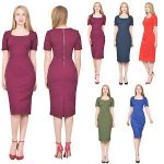 Image is loading MARYCRAFTS-WOMEN-039-S-SQUARE-NECK-SHEATH-DRESS-