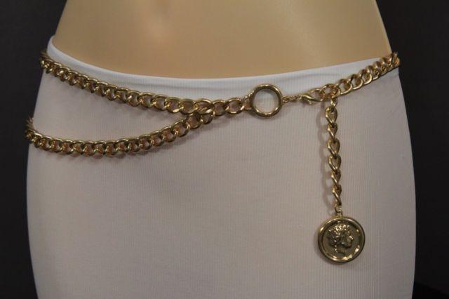 New Women Metal Chain Belt High Waist Hip Gold Greek Style Coin Charms XS S  M