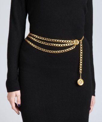 Vintage gold tiered chain belt