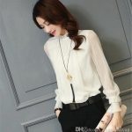 2019 Chiffon Blouse 2017 New Women Tops Long Sleeve Stand Neck Work Wear  Shirts Elegant Lady Blouses Casual Solid Color From Angelyanyan, $24.11 |  DHgate.