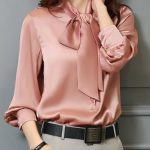 Shift Casual Bow Long Sleeve Tie-neck Blouse
