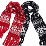 MTFS Winter Warm Scarf Reindeer Snowflake Knit Scarf Lovely Christmas Scarf  (A# - 2 Color