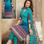 Blue Print Work Cotton Churidar Suit
