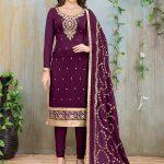 Purple Georgette Churidar Suit