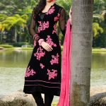 Black Resham Work Embroidered Churidar Suit