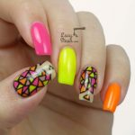 Colorful Neon rave nail art design idea