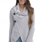 Grey Buttoned Wrap Cowl Neck Sweater Traveller Location. Loading zoom