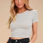 Limitless is More White Striped Cropped Tee