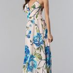 Floral-Print Open-Back Long V-Neck Cruise Dress