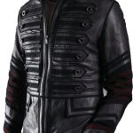 Handmade Custom New Men Military Style with Maroon Stripes Leather Jacket,  men leather jacket, Leather jacket for men, Biker Leather Jacket,