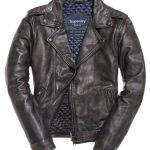 SUPERDRY MENS SD Endurance Custom Leather Jacket -Black Grey Rub Off-SMALL-  NEW
