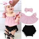 Pudcoco 3PCS Summer Cute Baby Girls Fashion Outfit Newborn Baby Girl Clothes  Set Off Shoulder Top