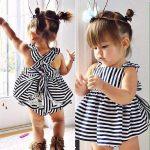 2015 new arrive summer style baby girls clothing set Stripe dress + Briefs  2pcs cute vestido newborn clothes infant baby suit