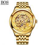 ANGELA BOS Gold Watch Men Mechanical Automatic Stainless Steel Skeleton  Waterproof Luminous Mens Designer Watches Luxury