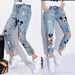 Printing Loose Plus Size Jeans for Women Cartoon Destroyed Jeans Woman New  Holes Capri Boyfriend Denim Womens Ripped Jeans for Girls Pants Plus Size  Jeans