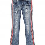 Pinterest share product Girls 7-16 Striped Tape Destroyed Jeans,DENIM,large