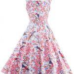 -48% Pink Straps Print Zipper-up 40s Vintage Dress for Women