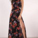 At Twilight Black Multi Floral Print Maxi Dress