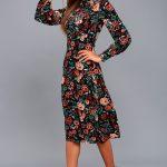 Retro Ready Black Floral Print Long Sleeve Midi Dress