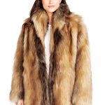 Red Fox Shawl Collar Faux Fur Jacket - 1