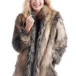 Pieced Fox Shawl Collar Faux Fur Jacket - 1