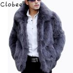 Mens Faux Fur Coats Winter Solid Color Long Sleeve Stand Collar Fur Coat  Male 4XL Cardigan Casual Leather Jacket Fur Men 5XL