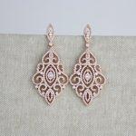 Rose Gold earrings, Bridal earrings, Wedding jewelry, Crystal earrings, Chandelier  earrings,