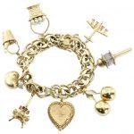 Wonderful 8 Charms Eiffel Tower Champagne Bucket Gold Charm Bracelet For  Sale