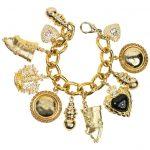 Vintage 80s Gold Chain Charms Bracelet For Sale