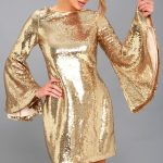 Beaming Belle Gold Sequin Bell Sleeve Dress