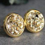 Gold Stud Earrings, Gold Earrings, Gold Druzy Earrings, Gold Post Earrings,  Gold Glitter Earrings, Small Gold Earrings, Gold Druzy Studs