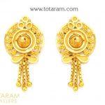Gold Earrings for Women - Buy Online Indian 22K gold earrings, Gold screw  back Earrings, Indian gold stud earrings, South Indian Earrings with south  indian