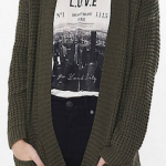 Army green wool cardigan