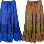 Mogul Womens Gypsy Skirts Vintage Sari Flare Tiered Bellydance Maxi Skirt  Lot Of 2 Pcs