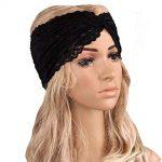BCDshop Fashion Lace Headbands Women Hair Band Elegant Wide Headwrap Turban  (Black)