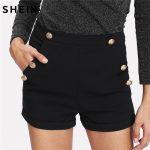 SHEIN Shorts Women High Waisted Shorts Black Zipper Fly Gold Button Detail  Shorts Casual Skinny Women