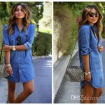 Denim Dresses Womens Longline Shirt Dresses Europe And The United States  Loose Irregular Jean Dresses Casual Blue Shirt Dresses Women In Short Dress  Women S