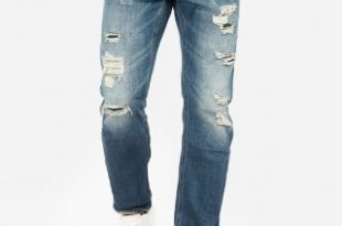 Express View · slim straight destroyed medium wash stretch jeans