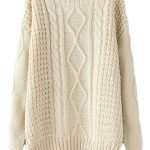 Beige White Diamond Cable Knit Sweater