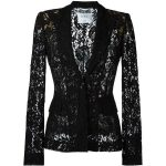 Moschino Lace Jacket ($1,425) ❤ liked on Polyvore featuring outerwear,  jackets, black, peaked lapel blazer, moschino jacket, moschino, blazer  jacket and