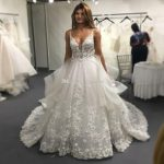 Elegant Lace Wedding Dresses 2019 A Line Spaghetti V Neck Backless Bridal  Gowns Bead Lace Appliques Tulle Sheer Formal Gowns for Bride