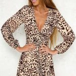 Leopard Print V Neck Long Sleeve Tie Waist A Line Dress