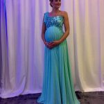 Elegant Maternity Party Dresses Empire One Shoulder Evening Dresses  Pregnant Long Blue Chiffon Formal Wear Appliques Beaded Corset