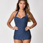 Unique Vintage Navy Pin Dot Corinne One-Piece Halter Sheath Swimsuit