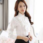 2019 Ruffle Blouse Women 2016 New Fashion Stand Collar Ruffle Cuff Long  Sleeve White Tops Elegant Ladies Office Work Wear Retro Chiffon Shirts From  Icostore