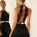 Sexy Backless Halter Above Knee Cocktail Dresses Lace Short Homecoming  Dresses Gold Belt Coctail Dress Prom