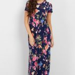 Navy Rose Short Sleeve Maxi Dress